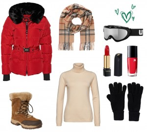 Skioutfit in Rot