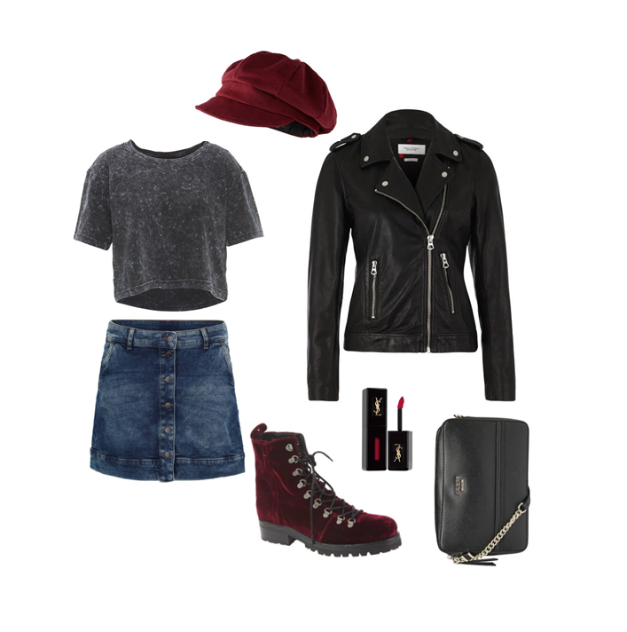 Baker-Boy-Hat Look cool mit roter Cord Mütze